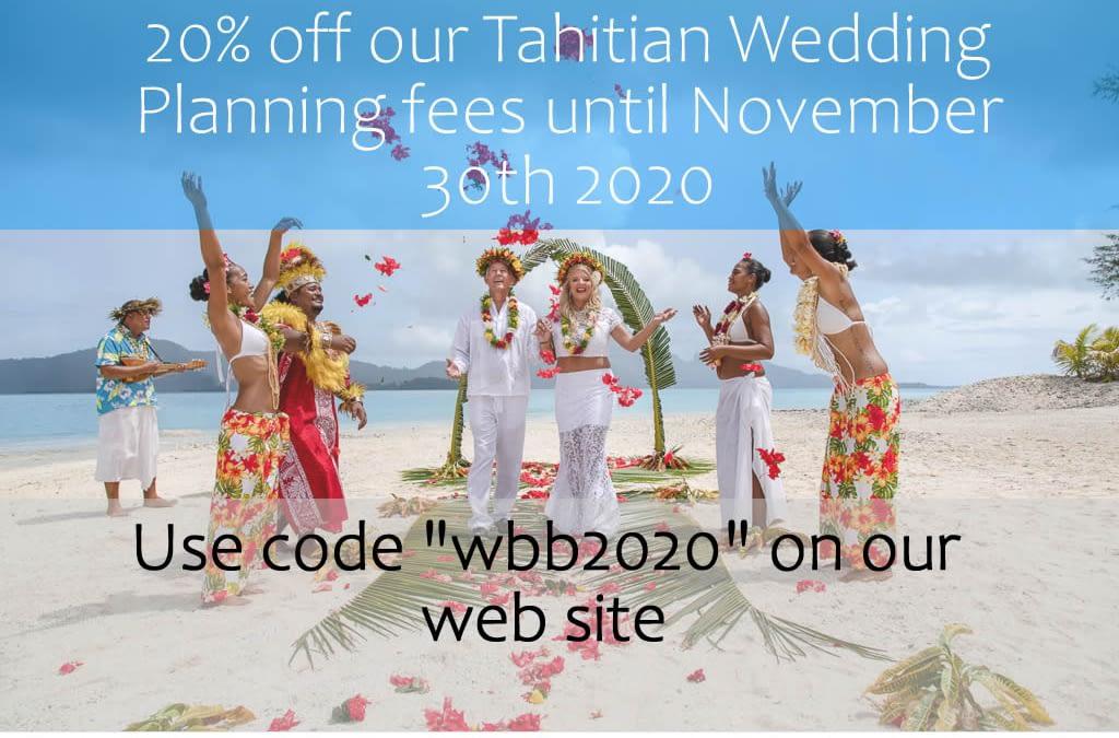 20% Off Discount – Bora Bora Tahitian Wedding Planning Fees
