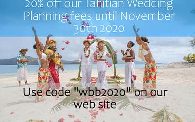 20% Off Discount – Bora Bora Tahitian Wedding Planning Fees